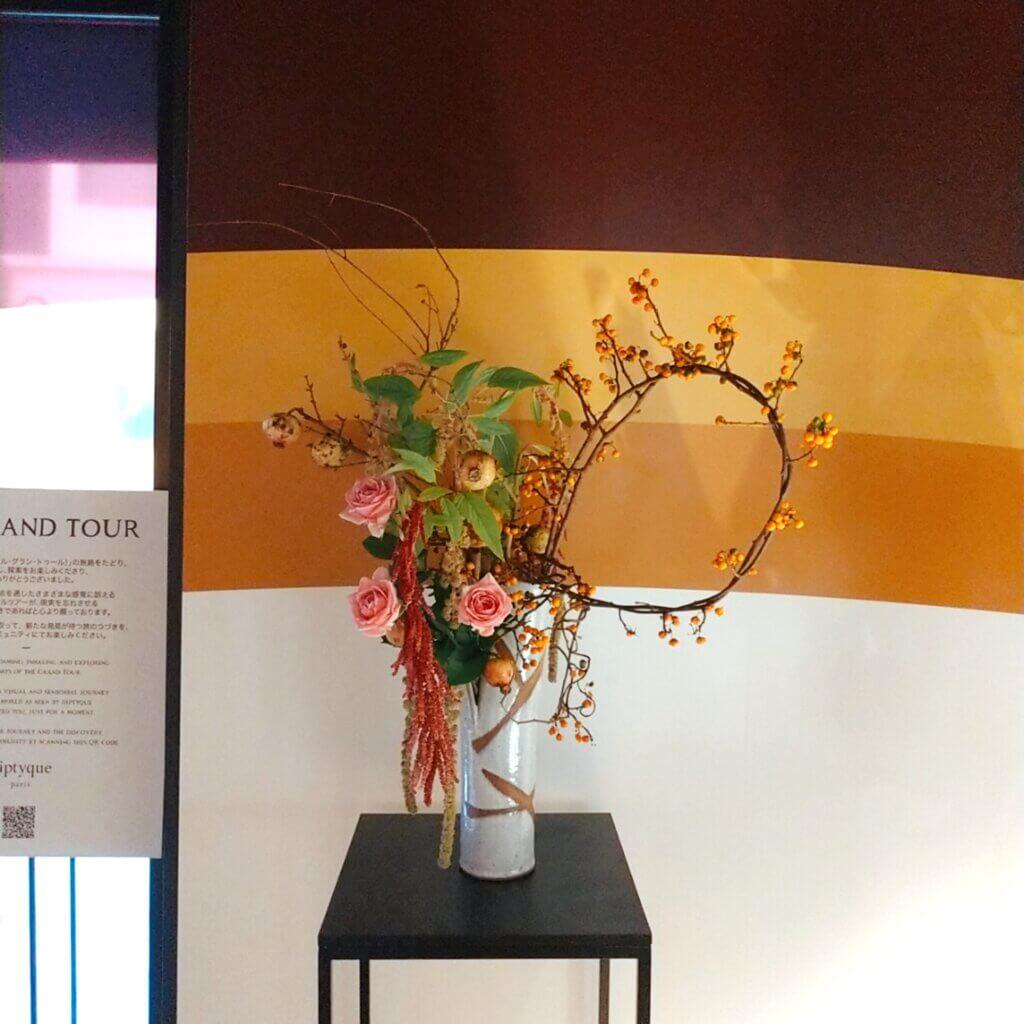 ディプティック「ル・グラン・トゥール」ポップアップイベントの生け花パフォーマンス